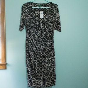 NWT Lauren Ralph Lauren Black & Cream Wrap Dress